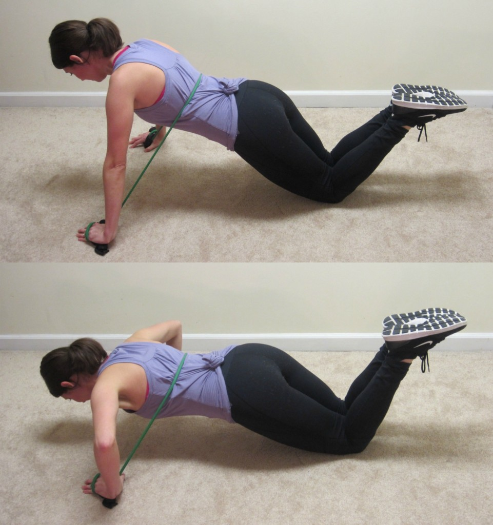 push-ups with resistance band (modified)