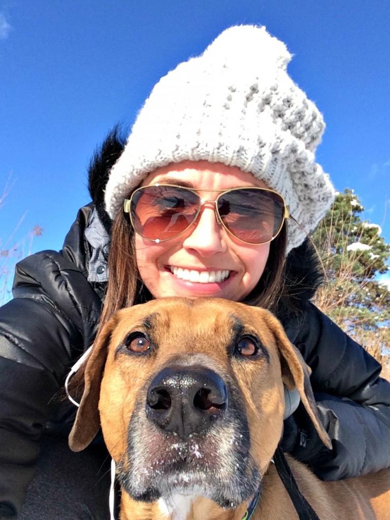 selfie with roadie on our walk
