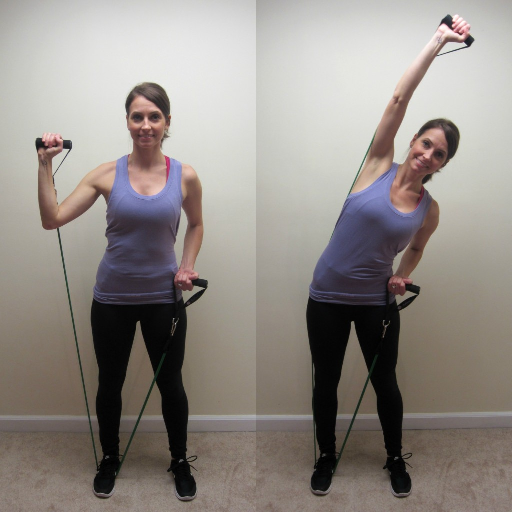side bends ab exercise with resistance band