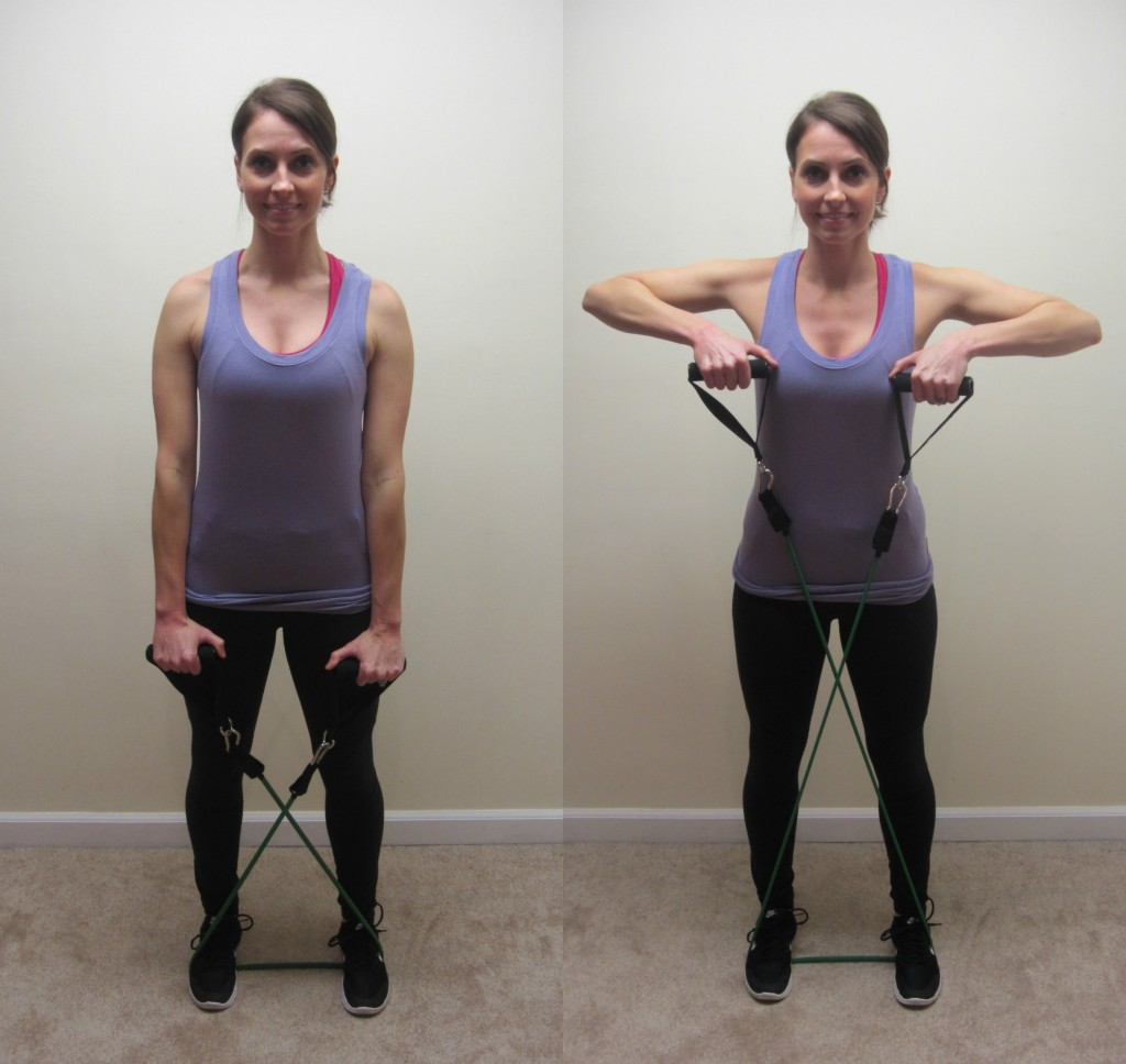 upright rows with resistance band