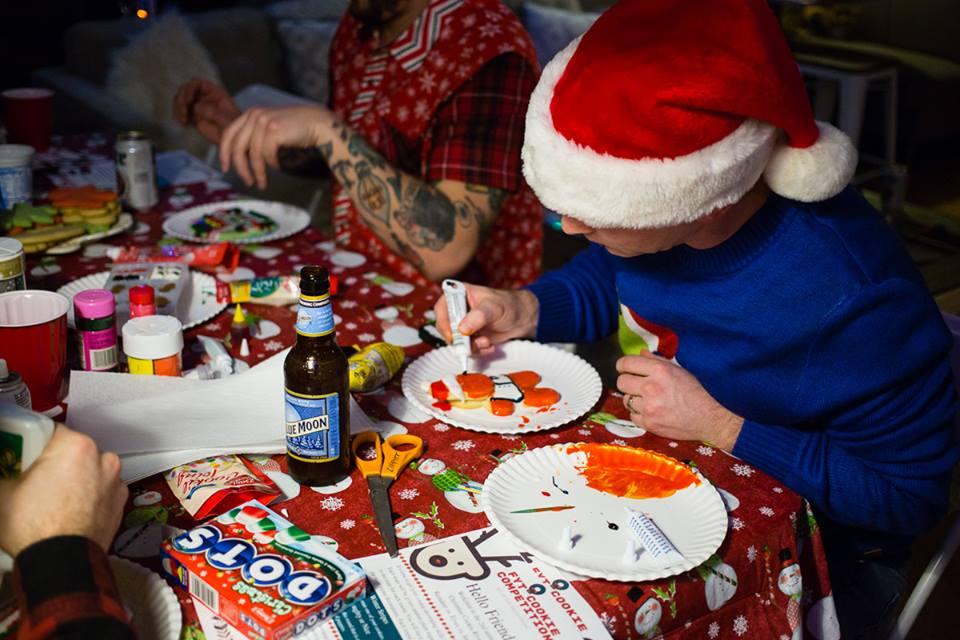 Scott decorating cookies