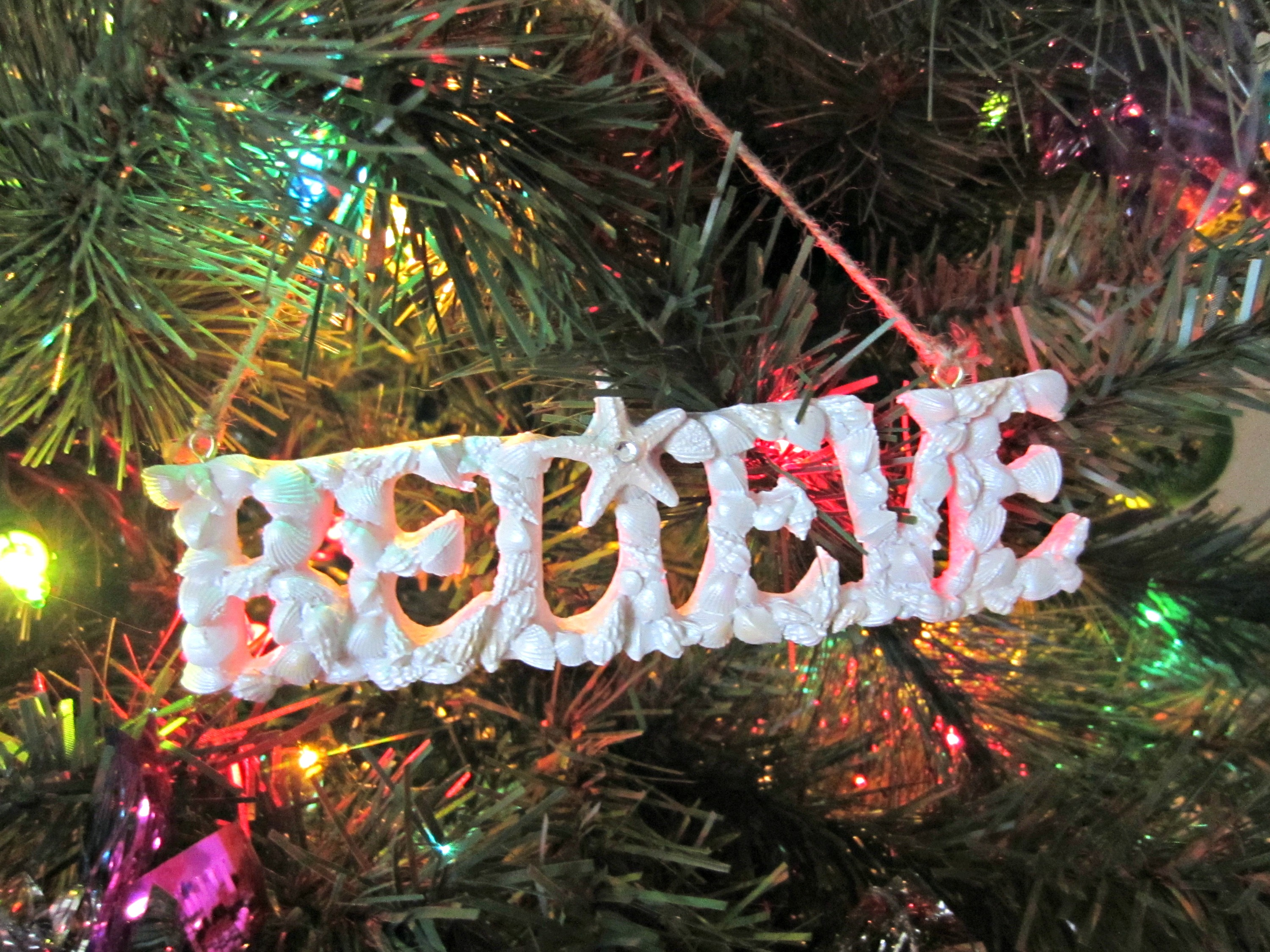 believe sea shell christmas ornament