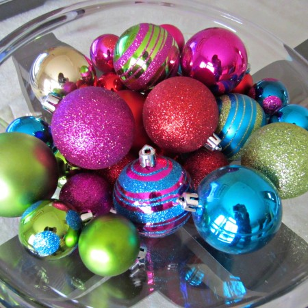 colorful christmas tree ornaments as decorations