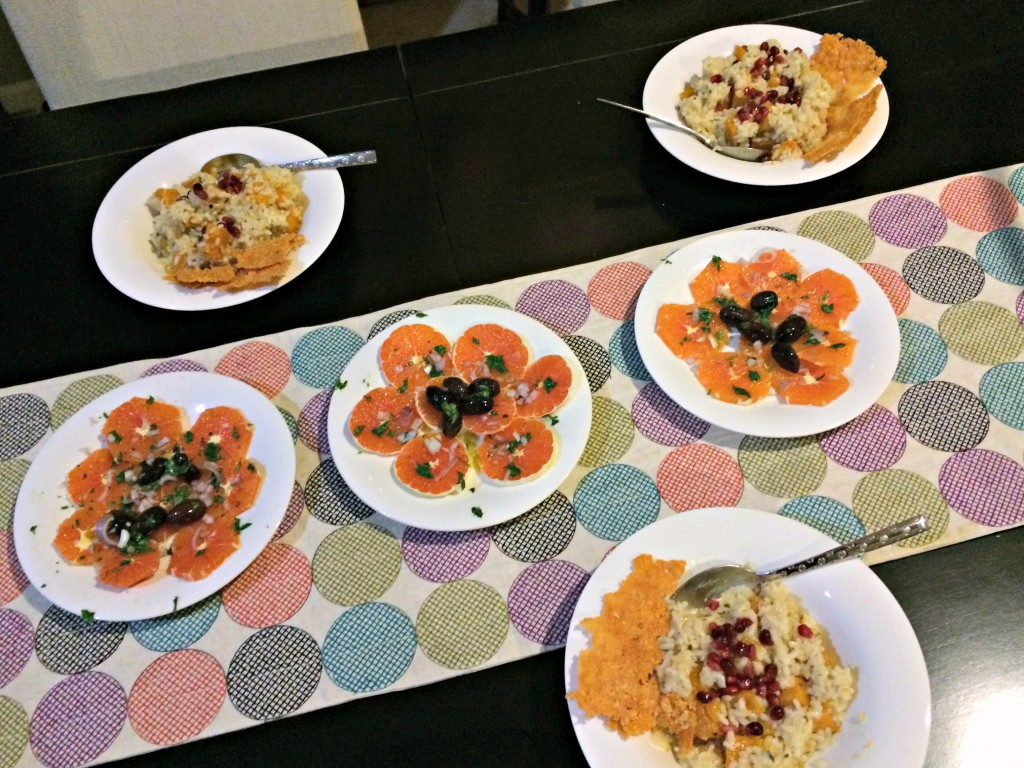 roasted squash risotto with navel orange salad