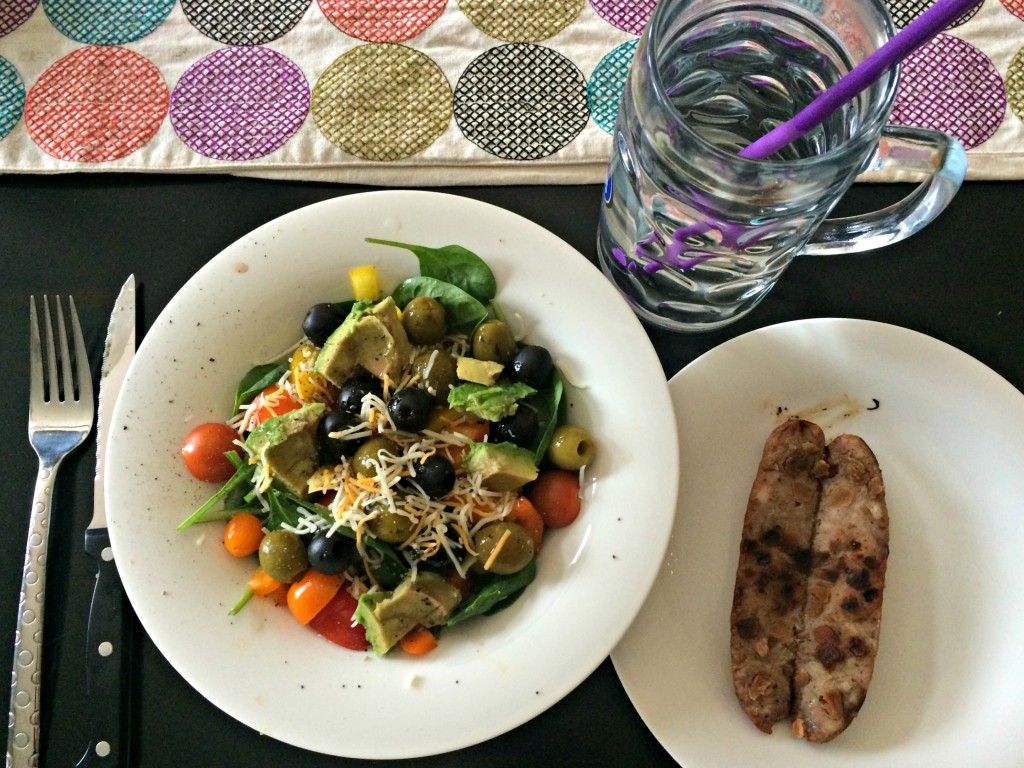 salad and chicken sausage for lunch