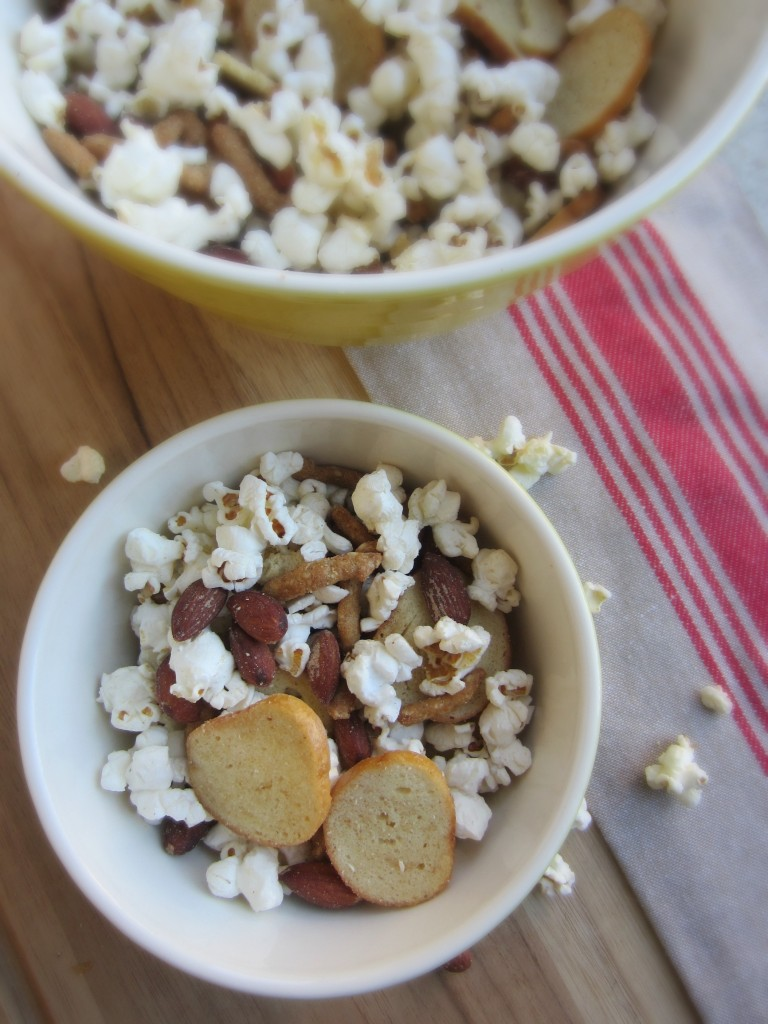 spicy almond and popcorn trail mix