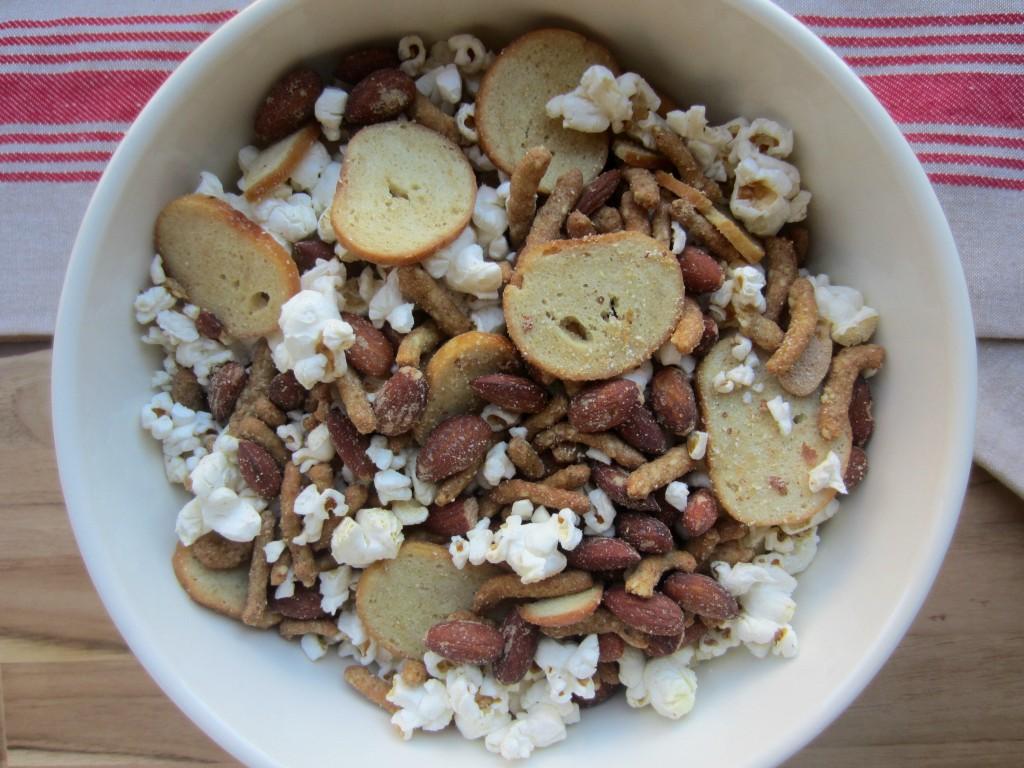 zesty wasabi almond and popcorn trail mix