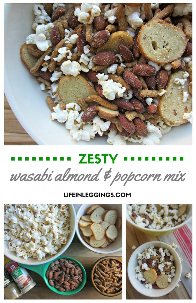 zesty wasabi almond and popcorn mix