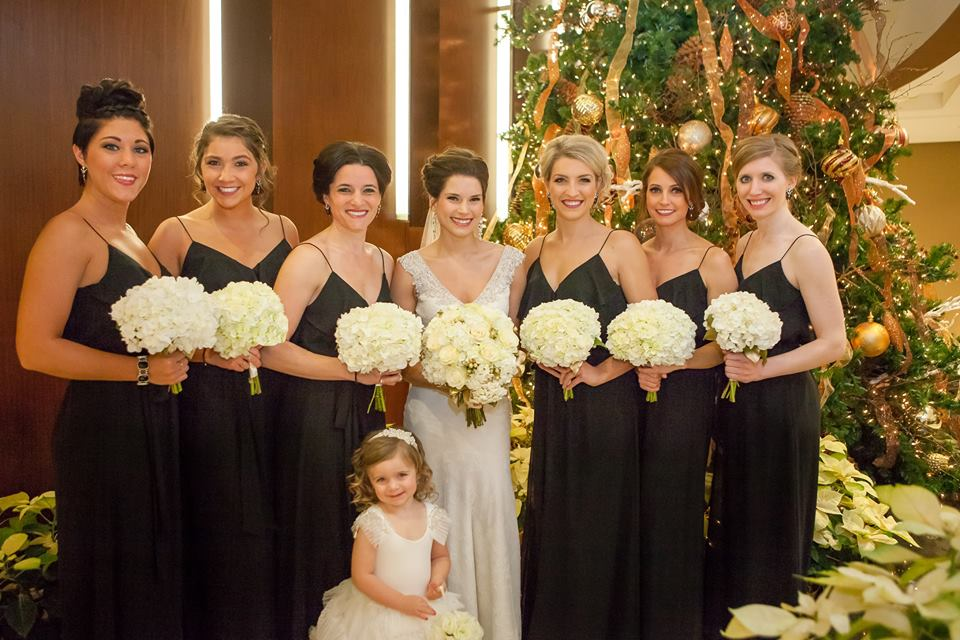 Bridesmaids with Christmas decorations