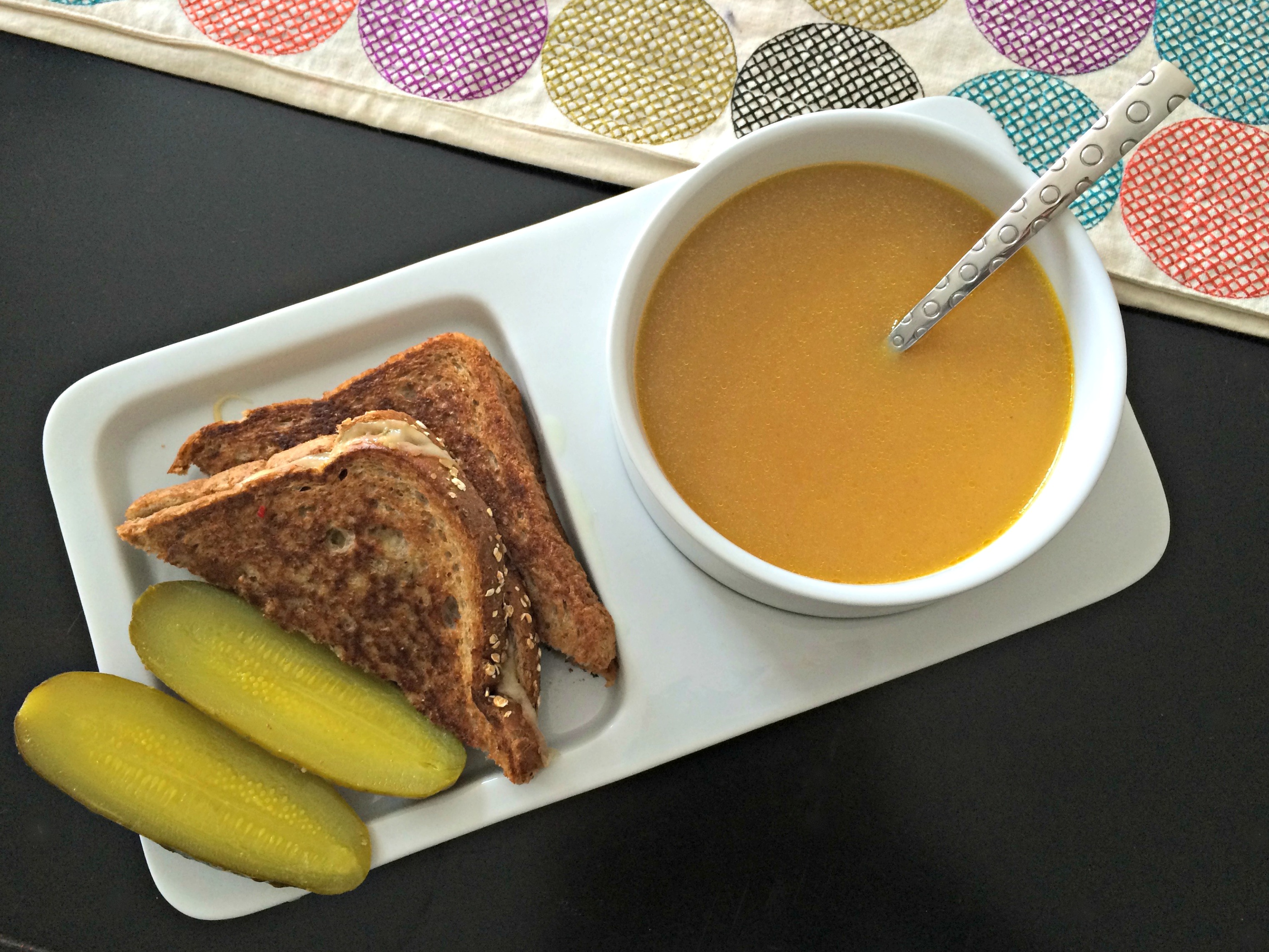Grilled cheese and butternut squash soup