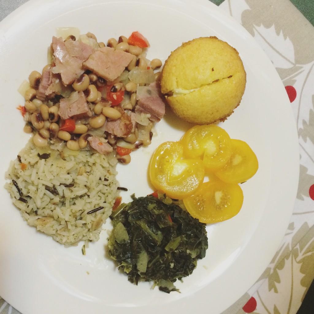 ham and black eyed peas for good luck dinner