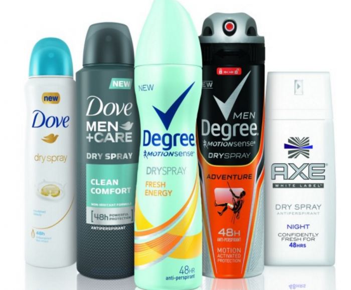 dove and degree dry sprays
