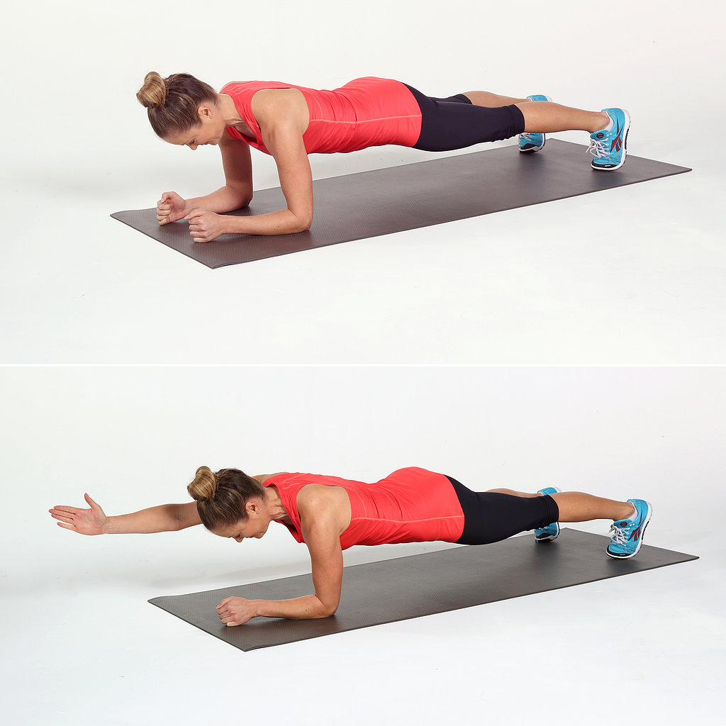 plank and reach exercise