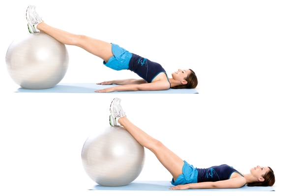straight leg stability ball bridge