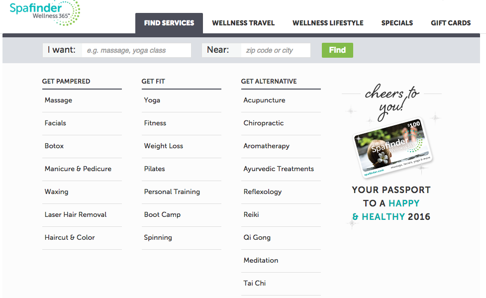 Spafinder Wellness gift card and services