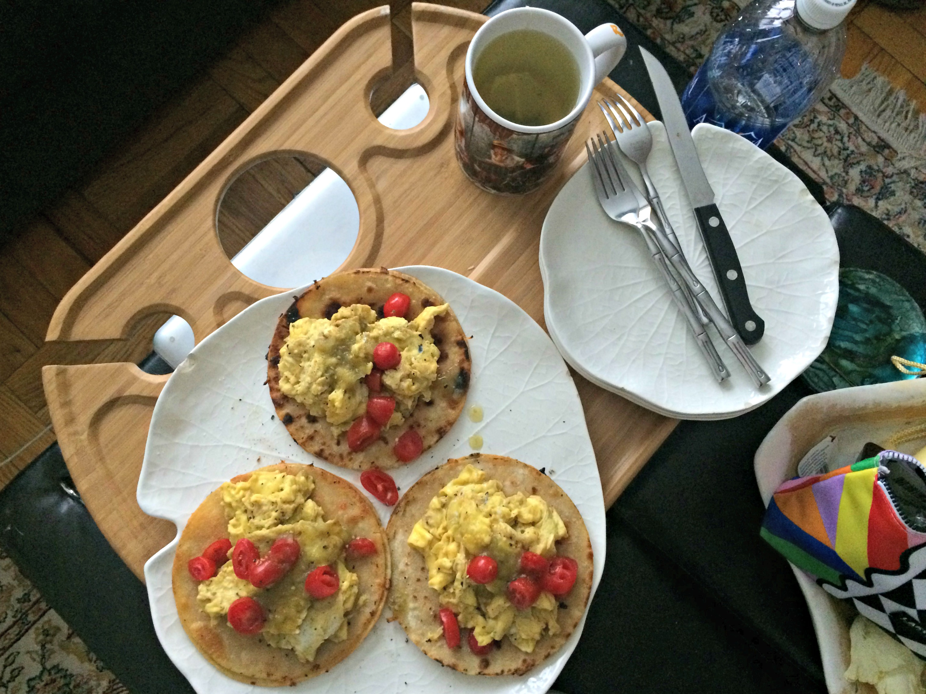 breakfast eggs on tortillas