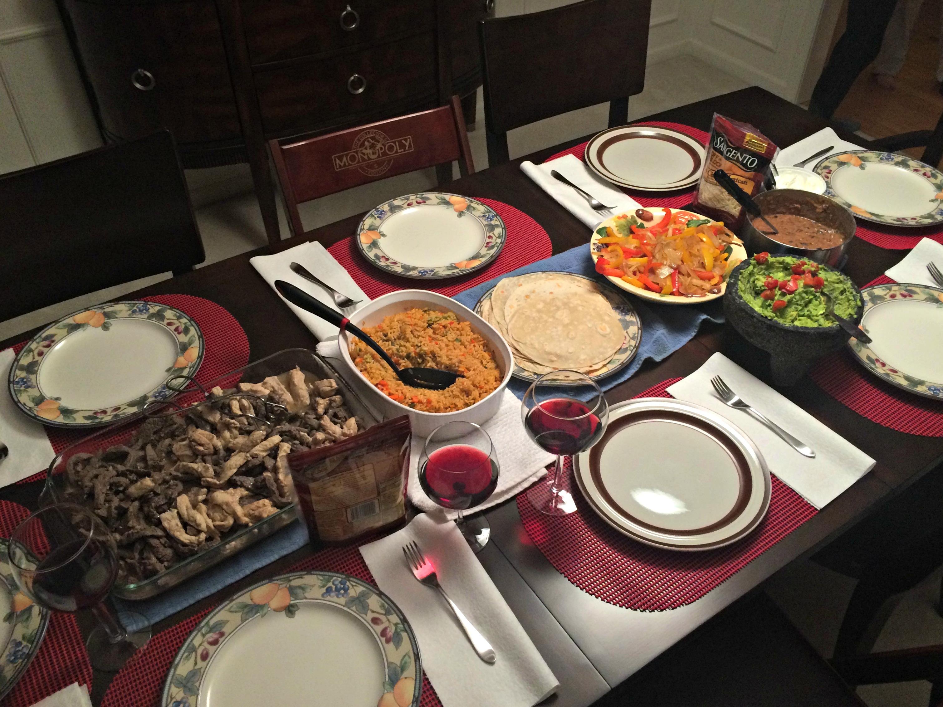 chicken and steak fajita dinner