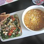 navy bean soup and salad lunch