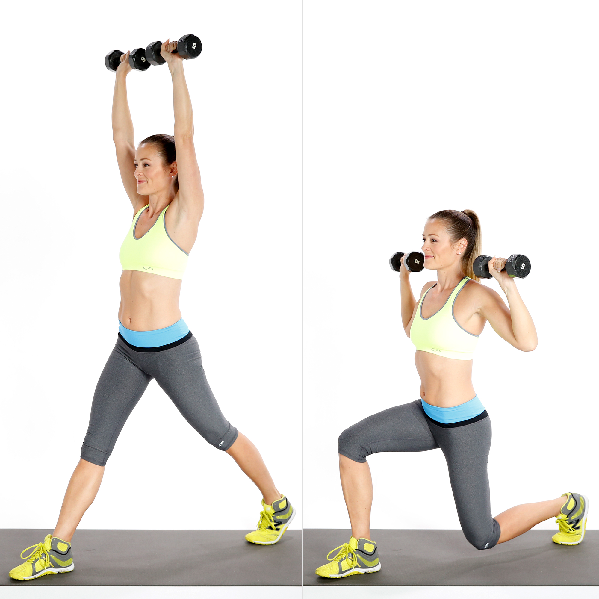 split squat to shoulder press exercise