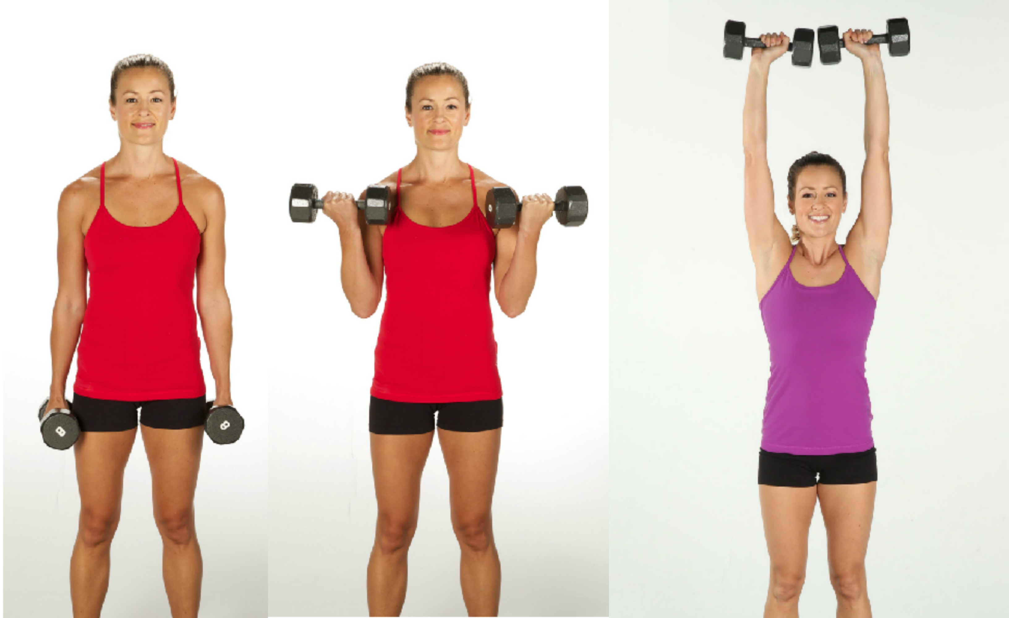 biceps curl to overhead press