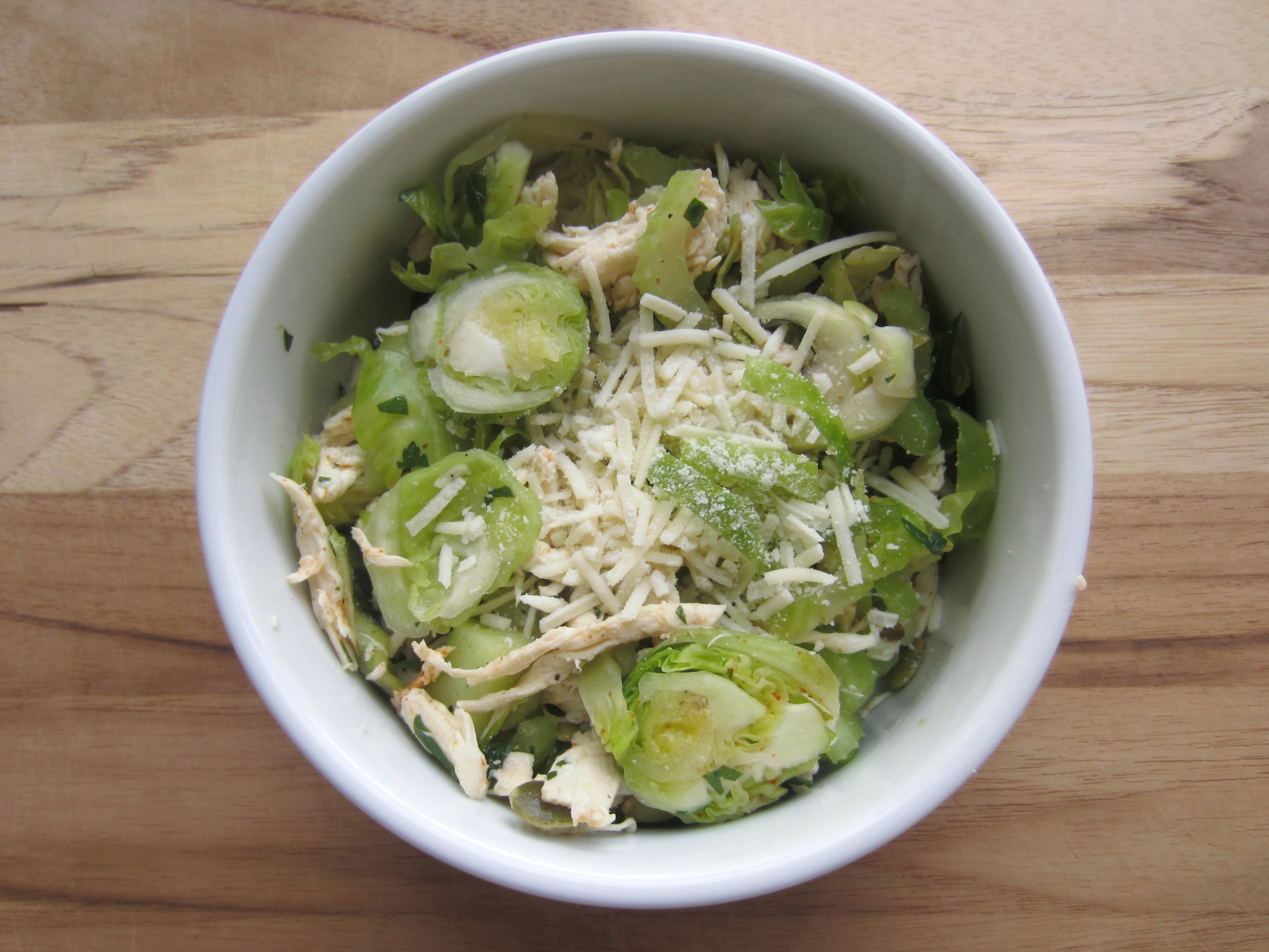 healthy chicken and brussels sprouts salad