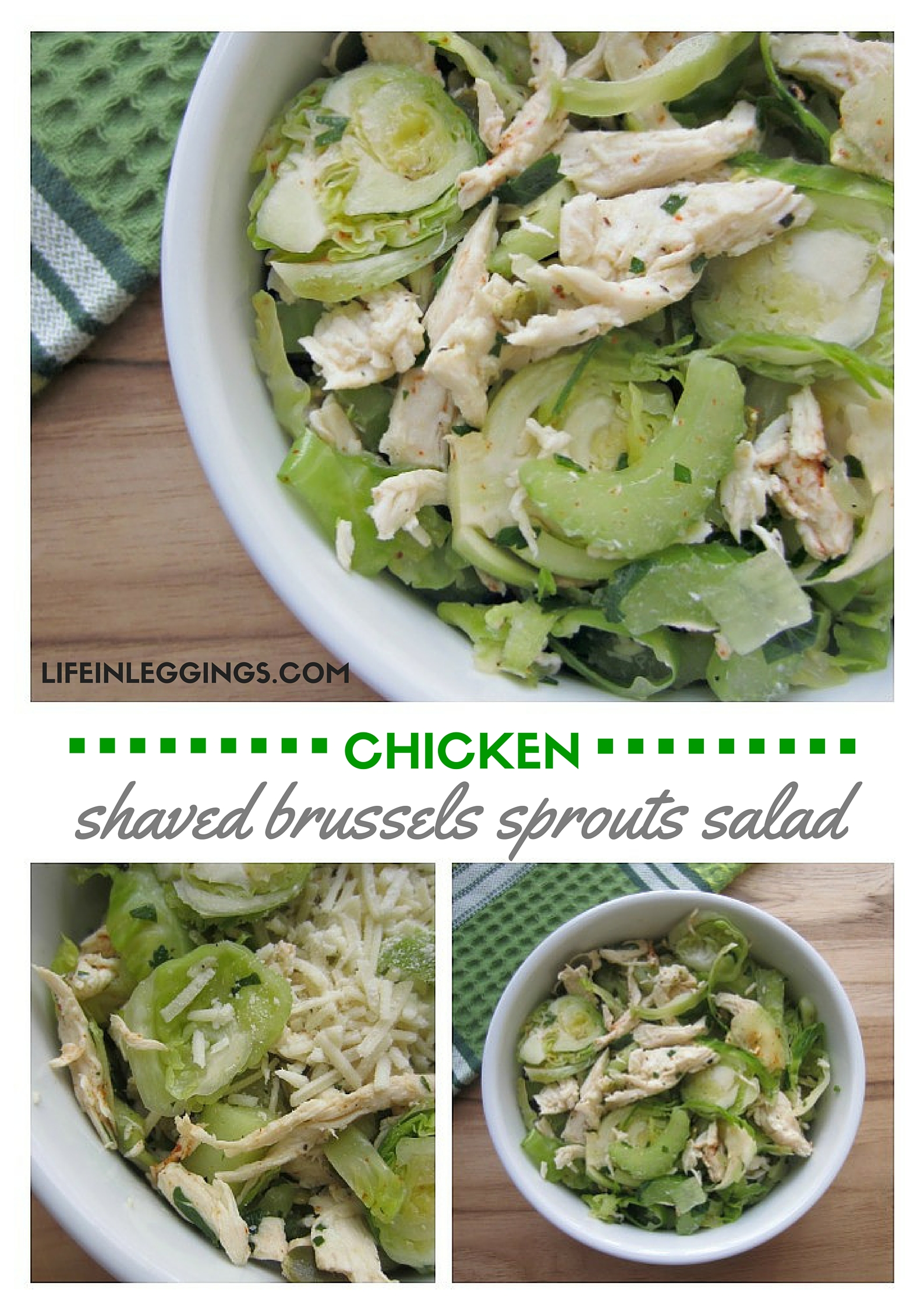 shaved brussels sprouts salad with chicken