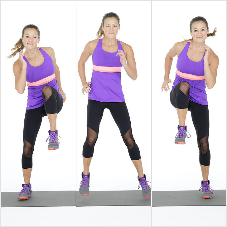 side shuffle with knee hold
