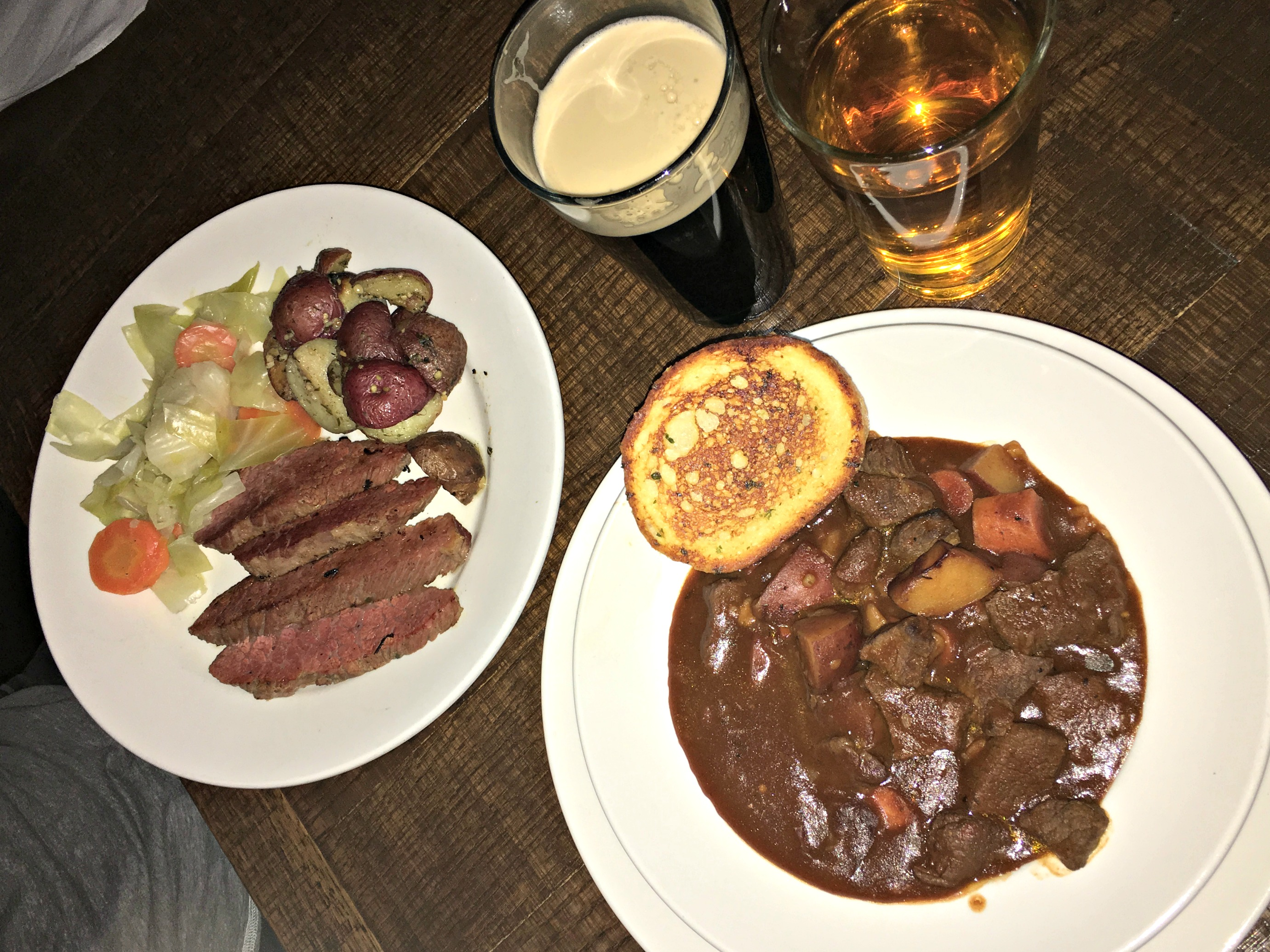 st patricks day food - corned beef and cabbage and beef stew