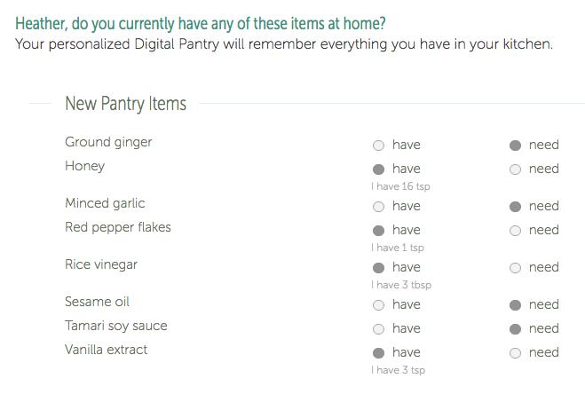 PlateJoy shopping list