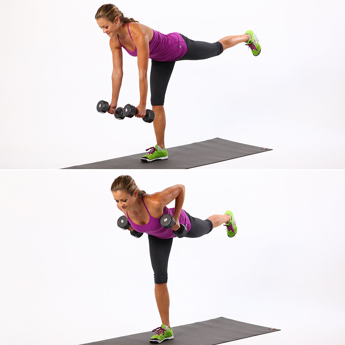 Single Leg Dumbbell Deadlifts with Rows