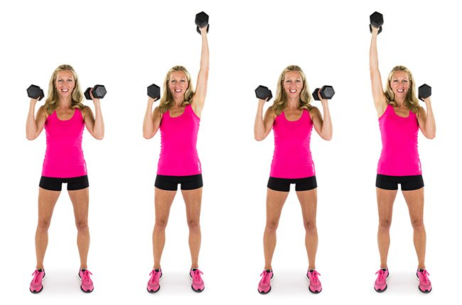 alternating dumbbell shoulder presses