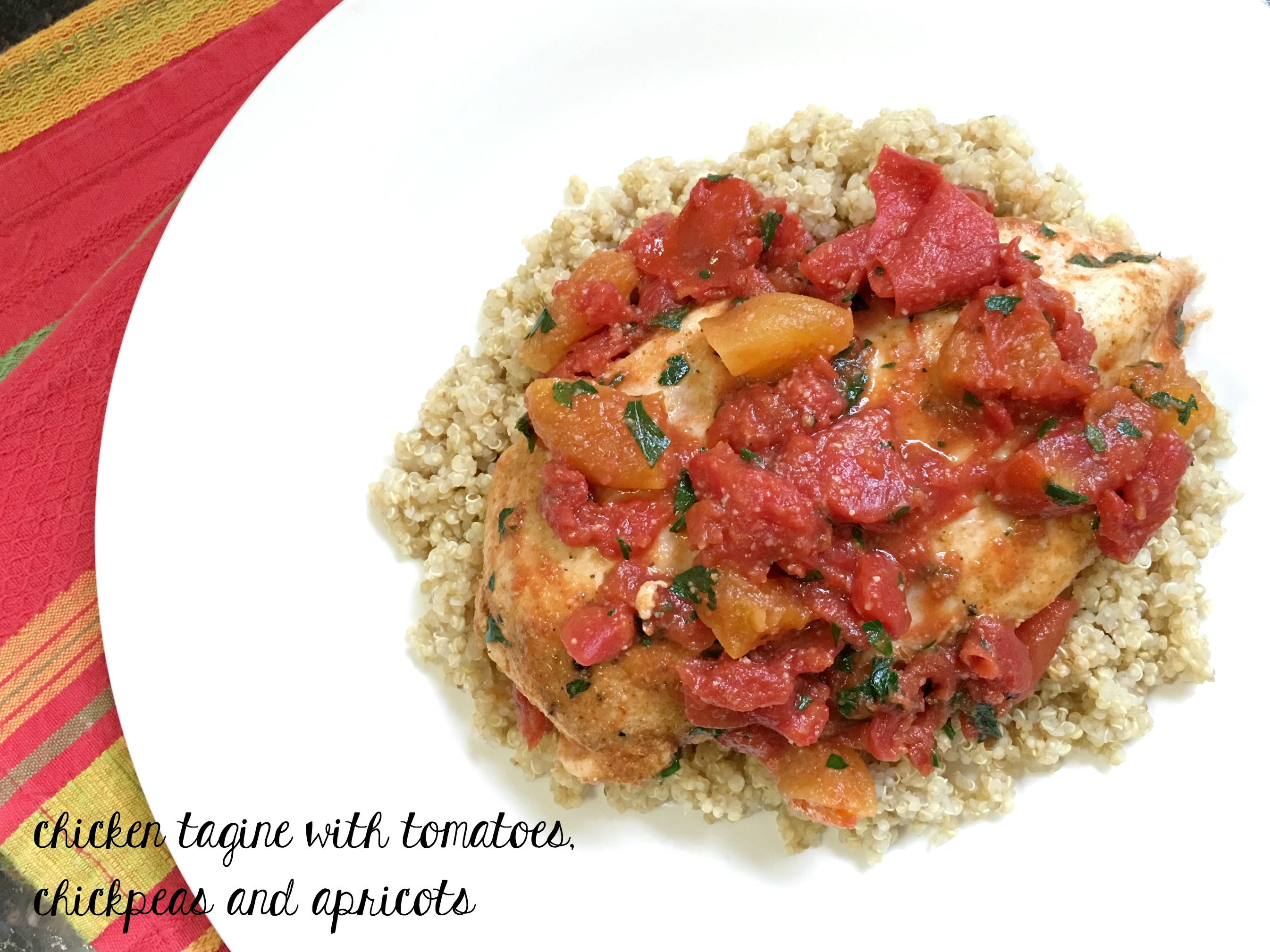 chicken tagine with tomatoes, chickpeas, and apricots - PlateJoy