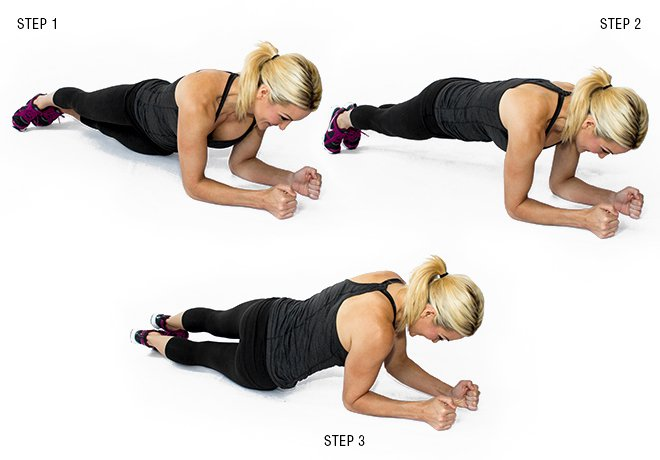 plank alternating hip dips