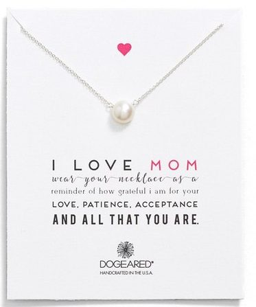 I Love Mom Dogeared Pendant Necklace