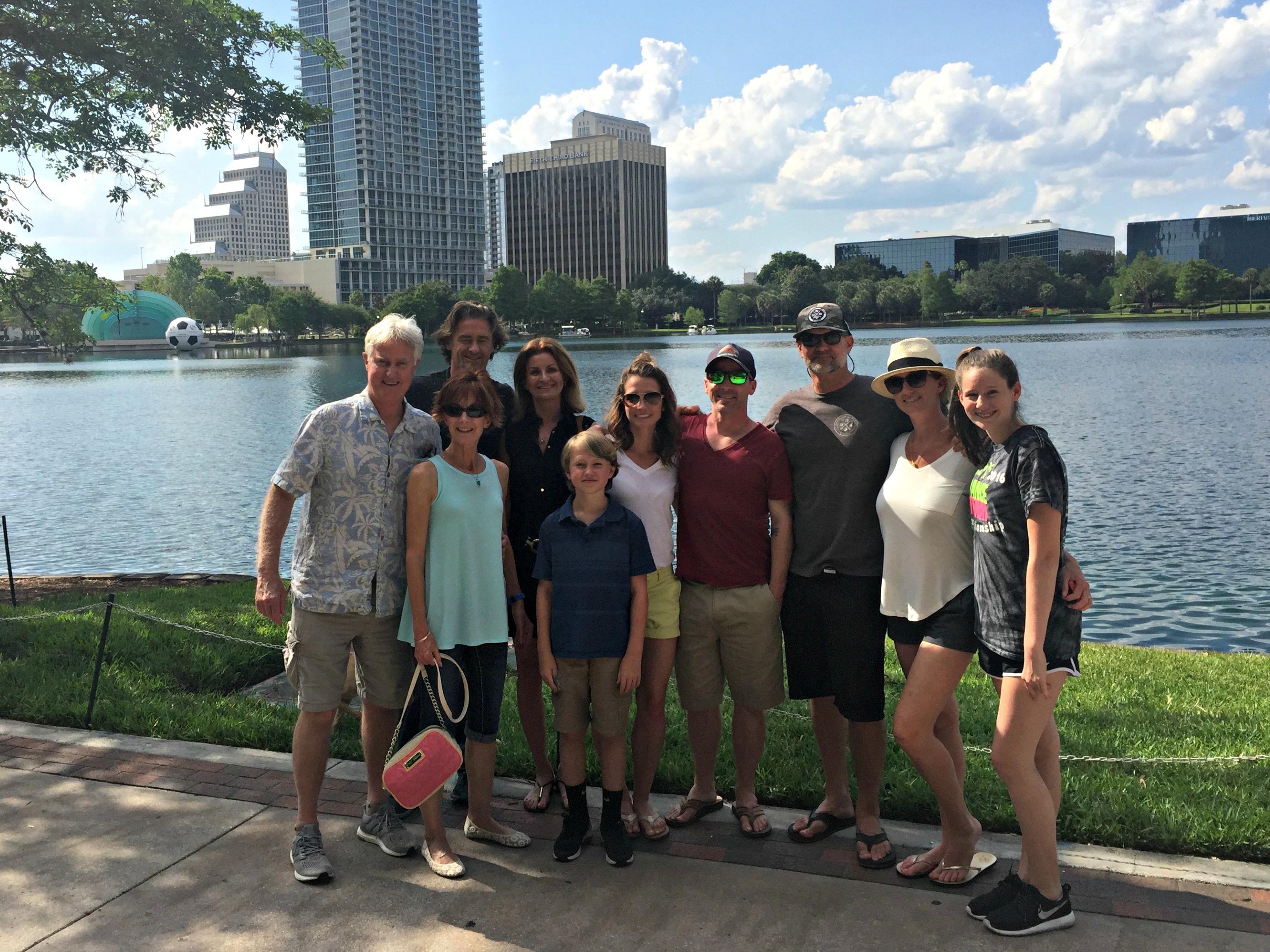 family photo at lake eola park