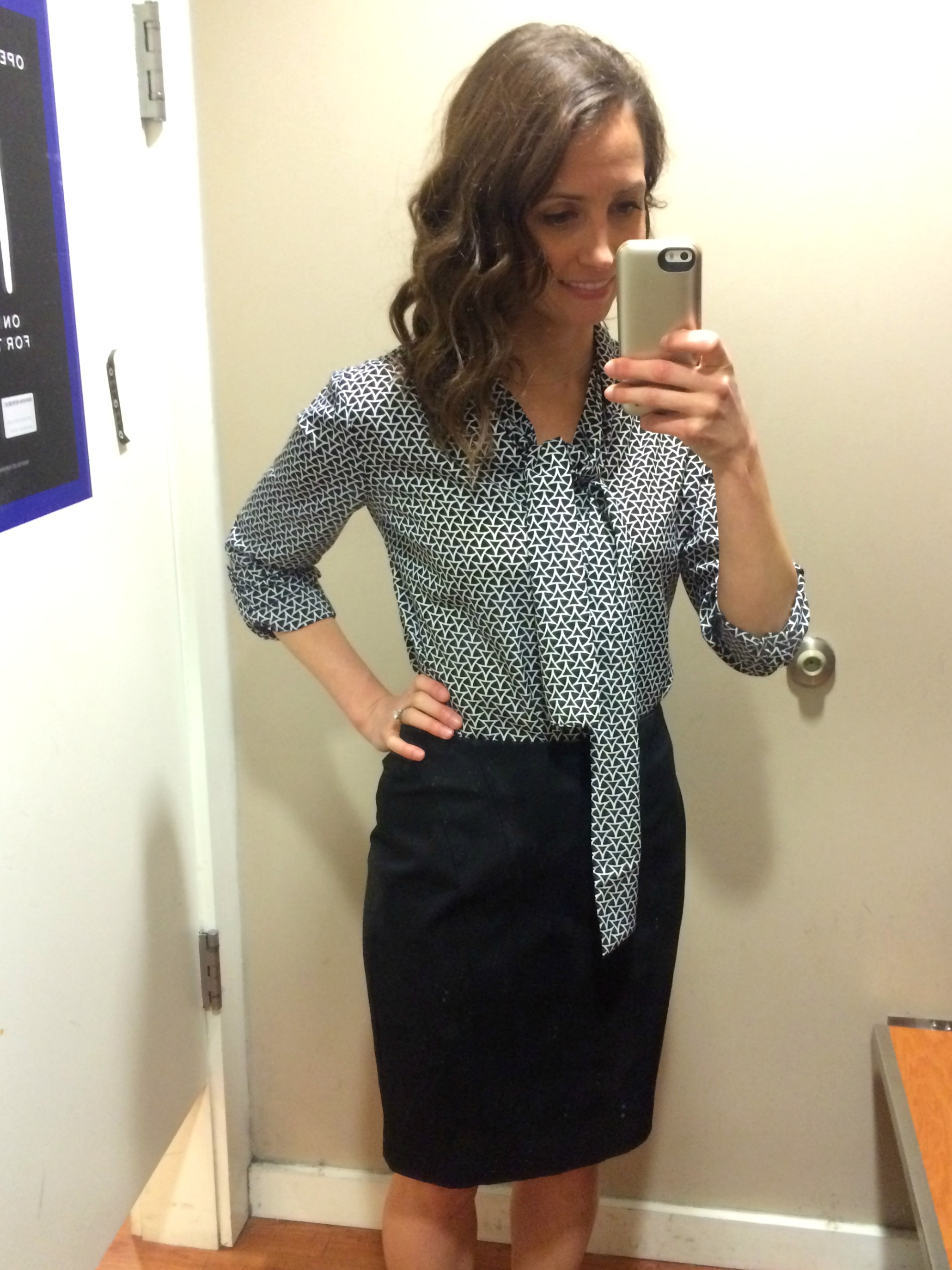 heather trying on interview clothes