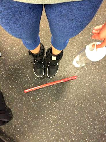 lightsaber workout and ankle weights