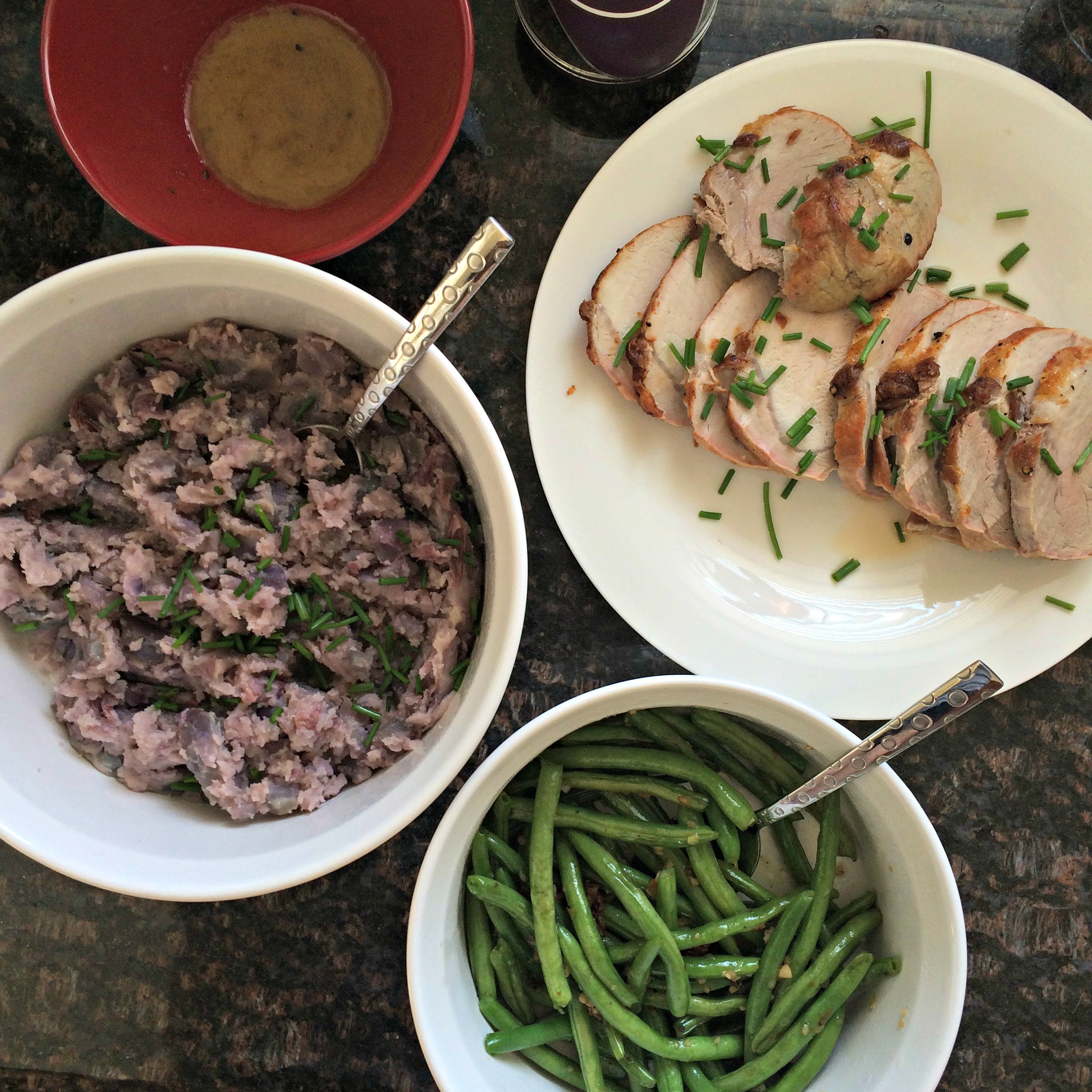 Blue Apron Pork with Green Beans and Purple Potatoes