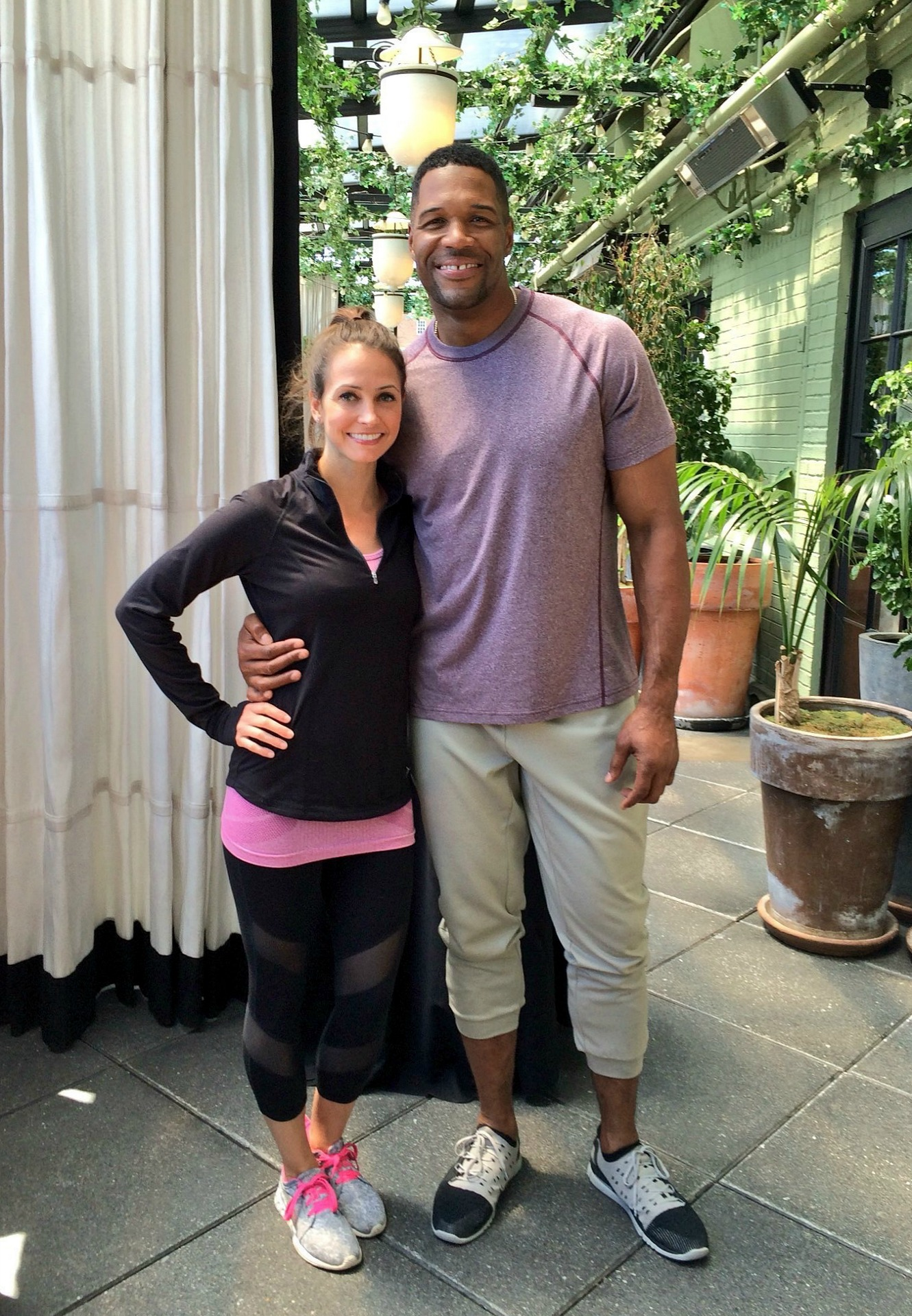 Heather Life In Leggings and Health and Fitness Tips with Michael Strahan