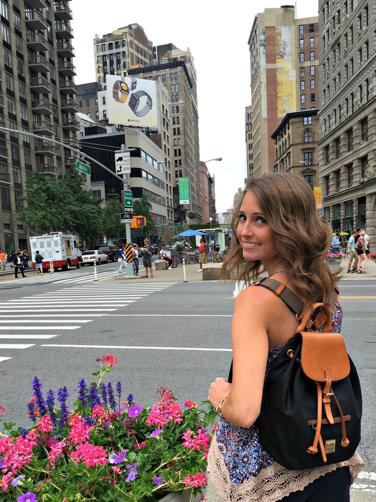 Heather wearing Dooney & Bourke Windham backpack