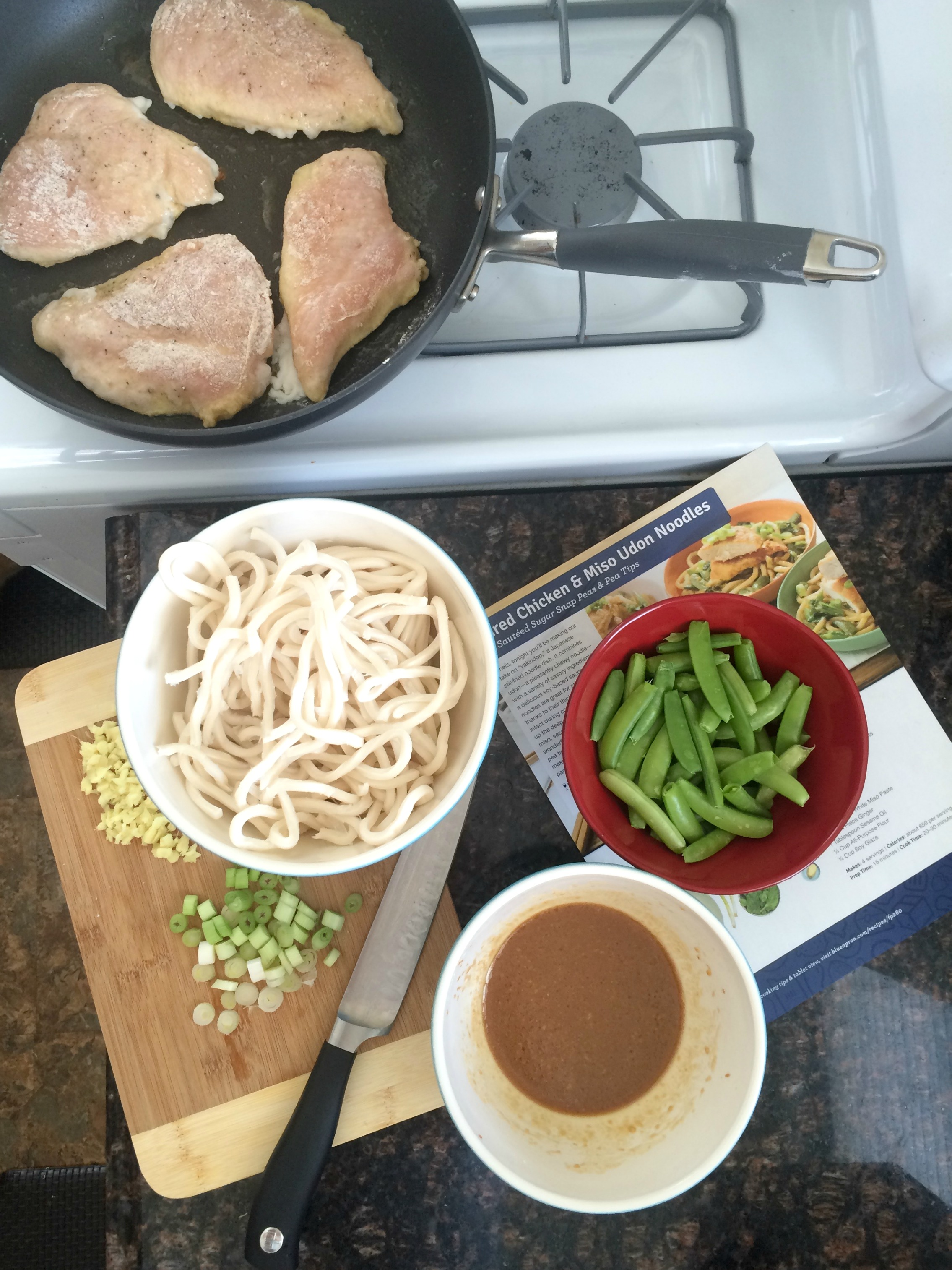 cooking blue apron seared chicken & udon noodle dinner