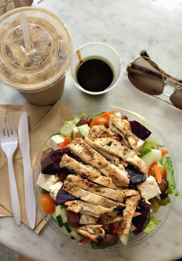 greek salad with chicken and beets - bagel pub - brooklyn, ny