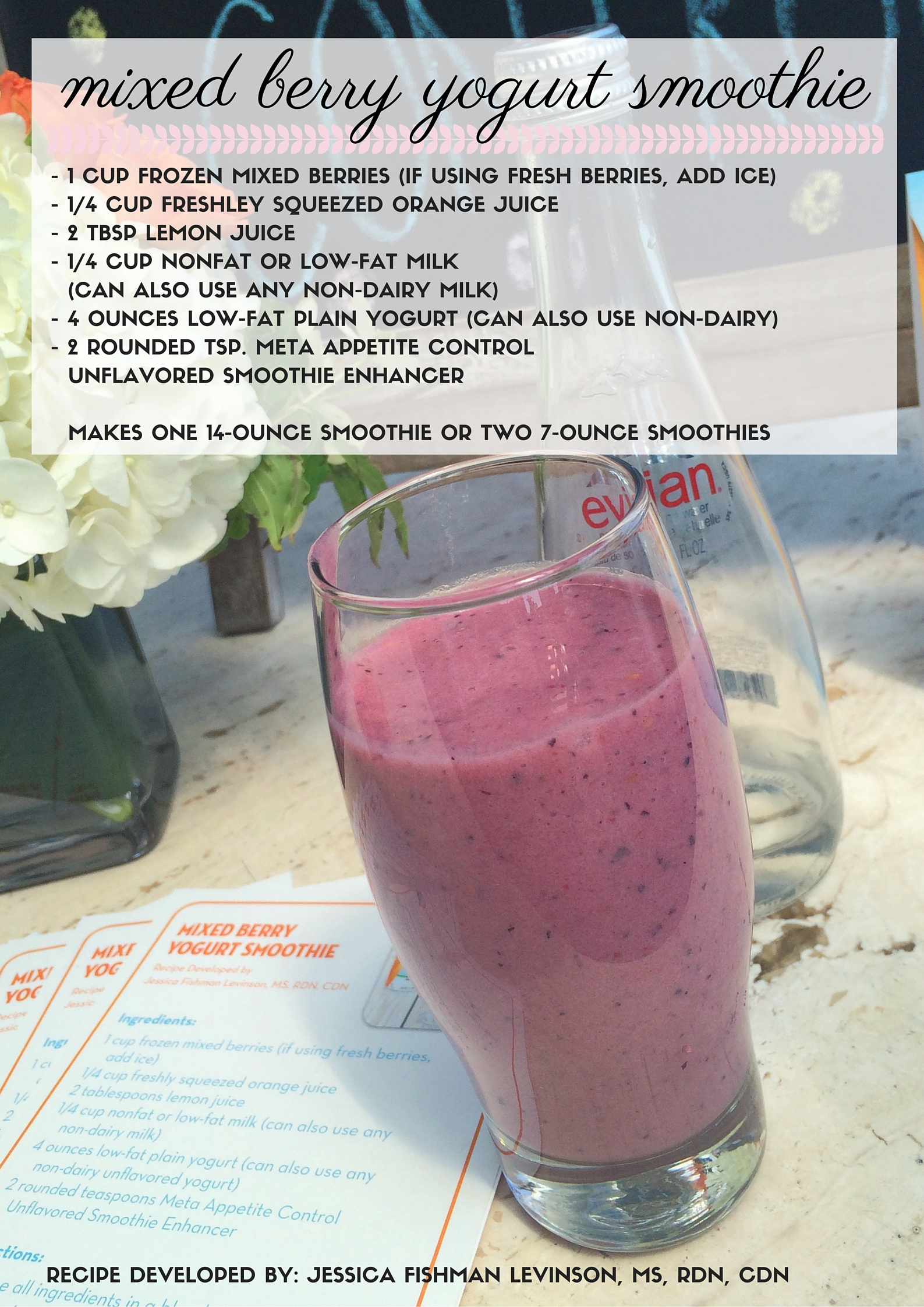 mixed berry yogurt smoothie with meta appetite control smoothie enhancer