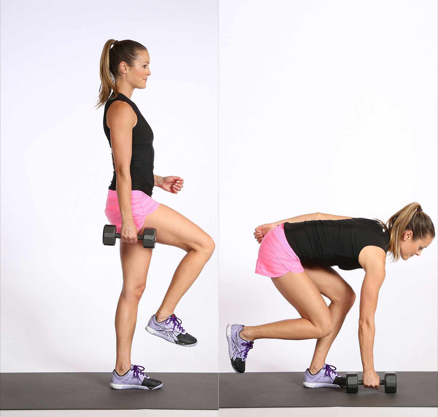 single leg squat touches with dumbbell