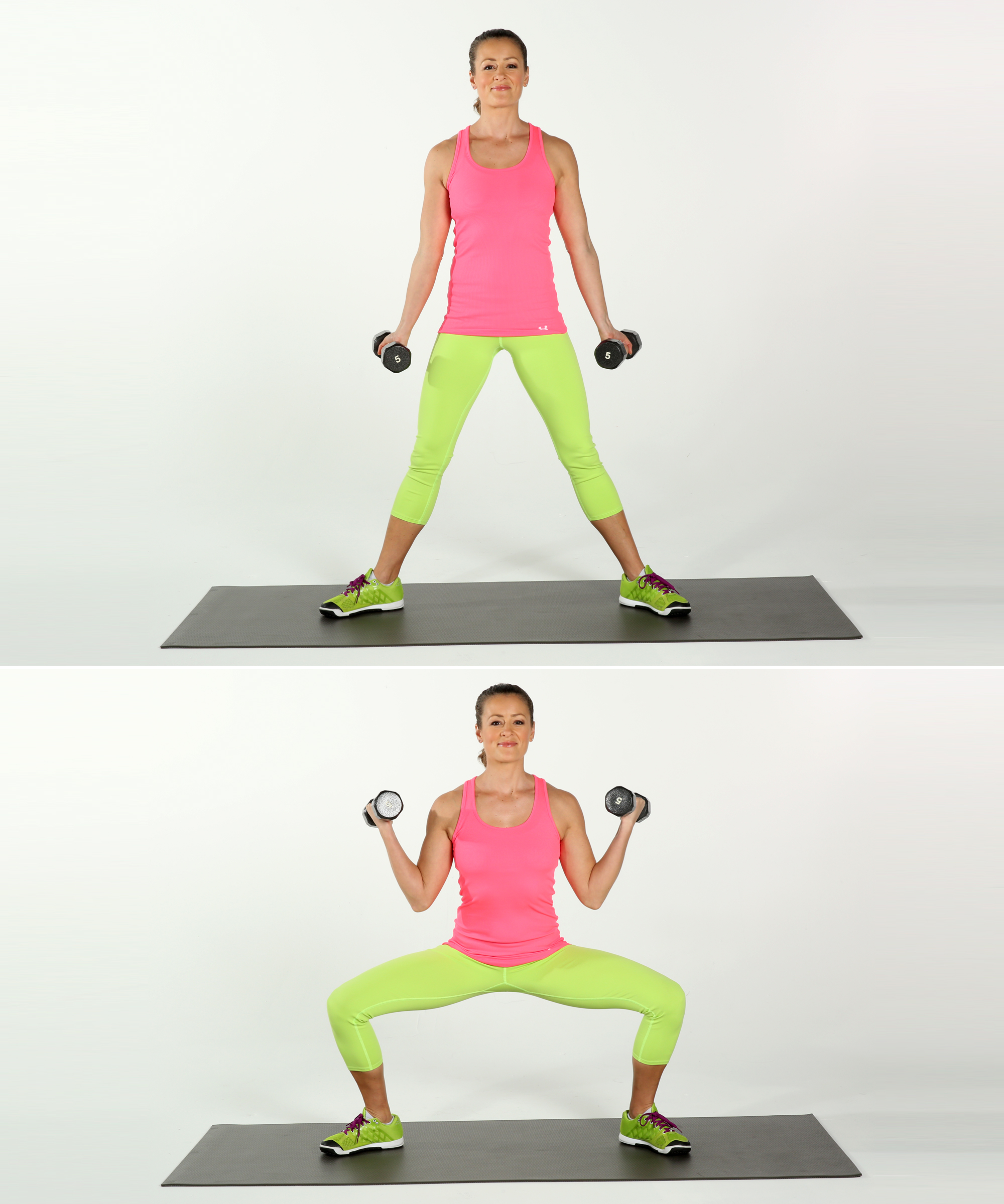wide squat with biceps curls exercise