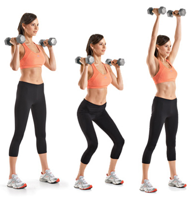 dumbbell squat to press exercise
