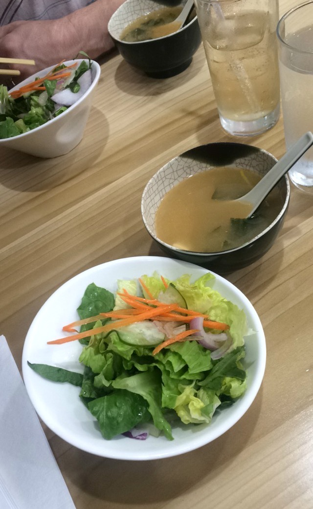 ginger salad and miso soup