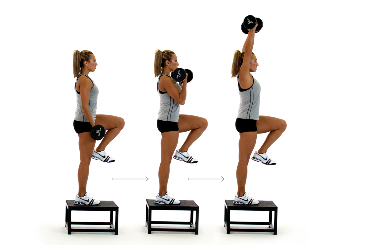 step up curl to press