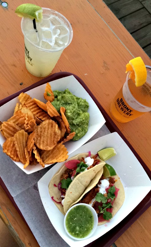Brooklyn Barge tacos and guacamole