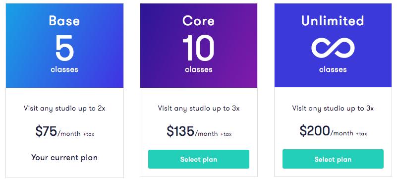 classpass plan costs